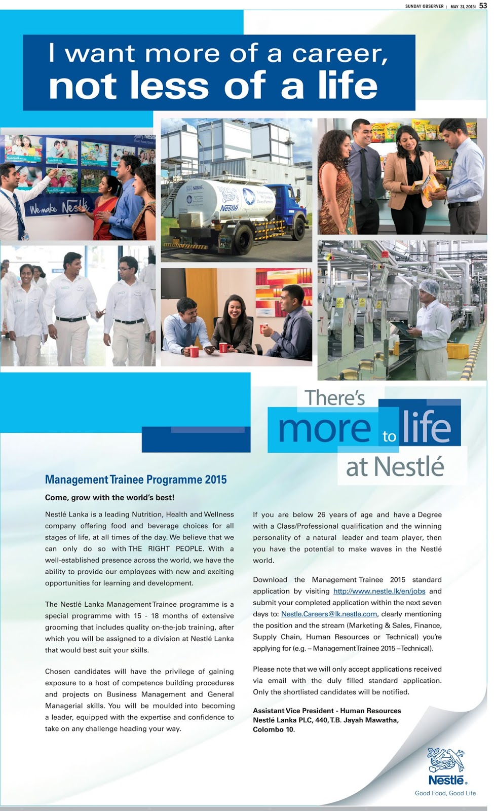 sri lanka vacancies latest vacancies career opportunities management trainee