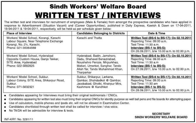 Jobs in Sindh Workers Welfare Board | Jobs in Pakistan,Career in ...