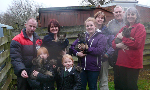 A group of adults and two children standing outside holding puppies