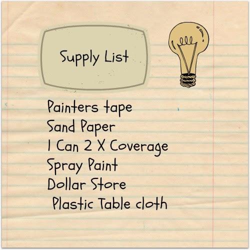 Supply List, Rust-Oleum Gray Spray Paint, Dollar Store Table Cloth, Sandpaper, Painters Tape