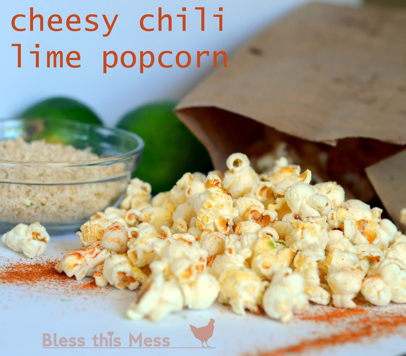 Cheesy Chili Lime Popcorn - Bless This Mess