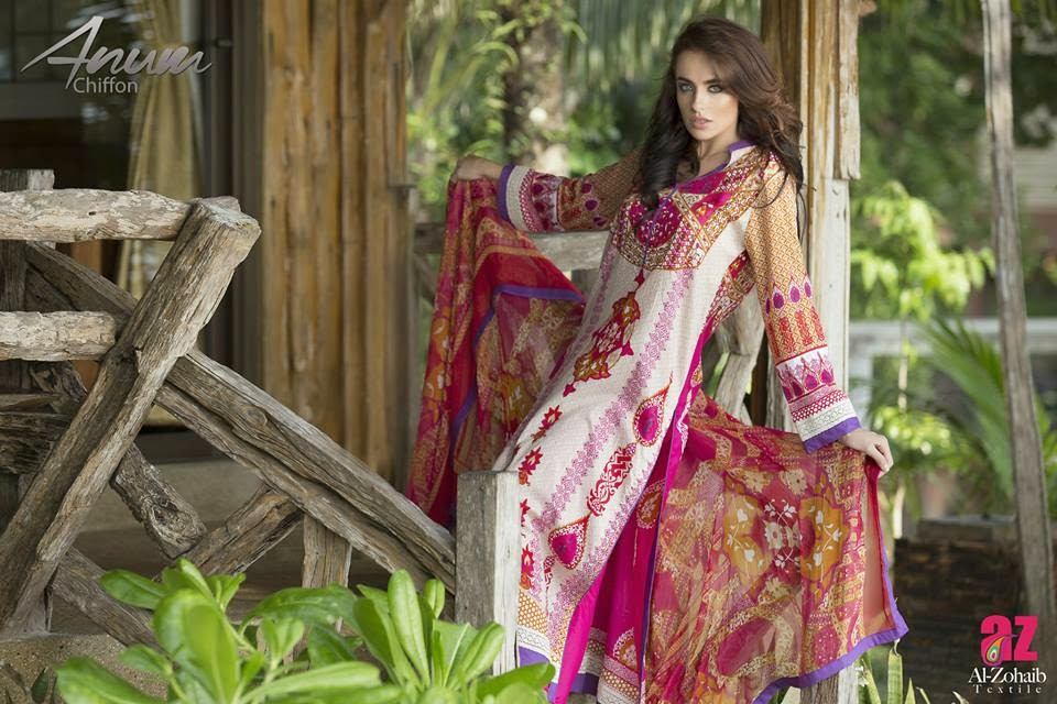 Anum Unique Chiffon Lawn Prints Collection 2015 for Girls