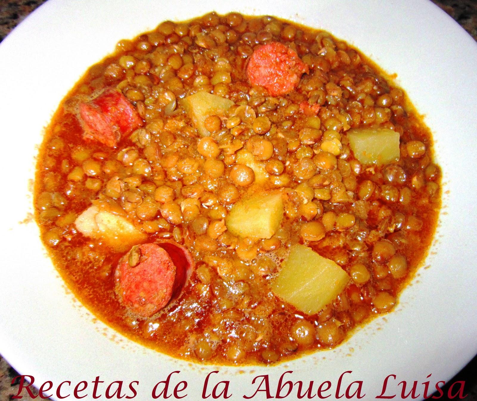 Lentejas con chorizo recetas de la abuela luisa - Lentejas con costillas y patatas ...