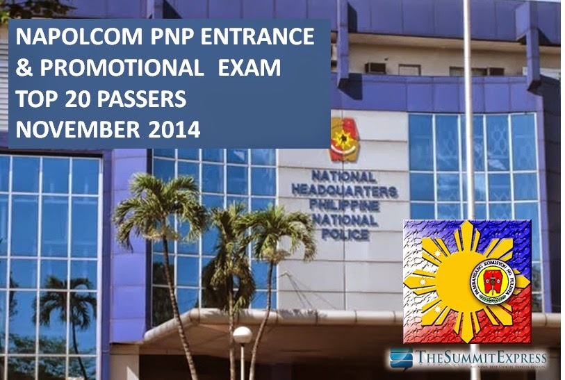 NAPOLCOM releases Top 20 Passers List November 2014 PNP Entrance, Promotional Exam