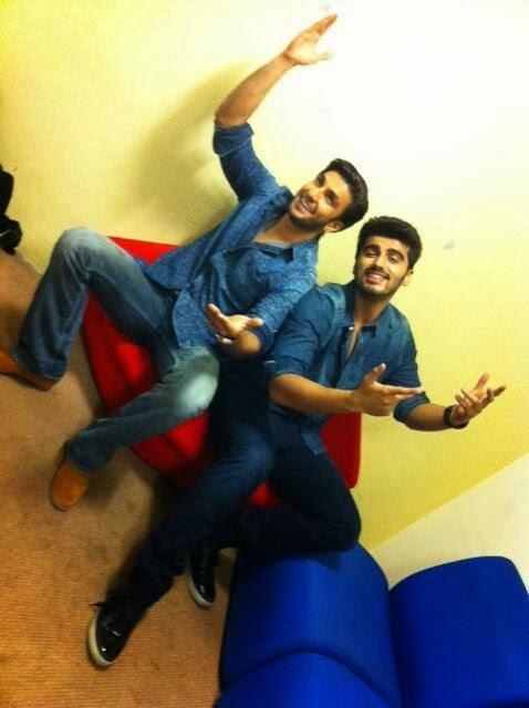 Ranveer Singh & Arjun at Zoom TV office to promote Gunday