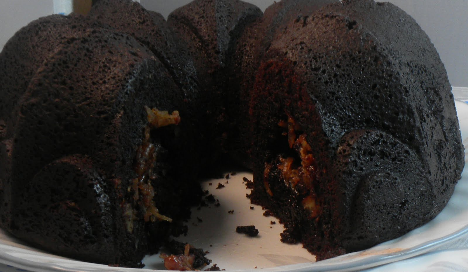 The Twisted Kitchen: Chocolate Bundt Cake with Pecan Caramel Filling