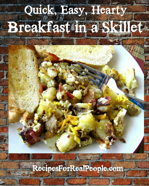 If you're like me, you love quick, easy meals. Here's a quick, easy, hearty, delicious breakfast skillet recipe that we love.