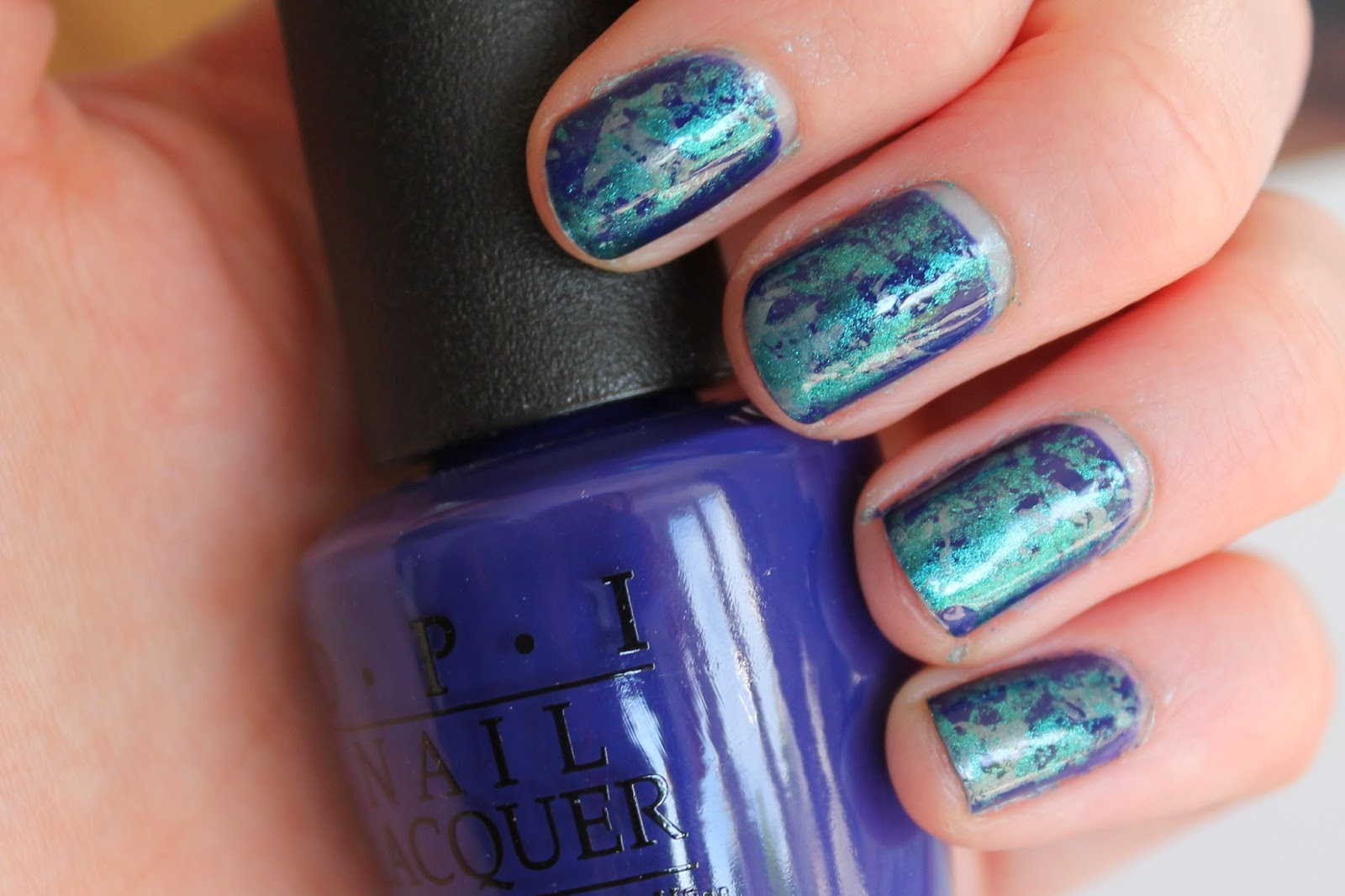 Cling Film Nail Art Tutorial - Blue Essie OPI
