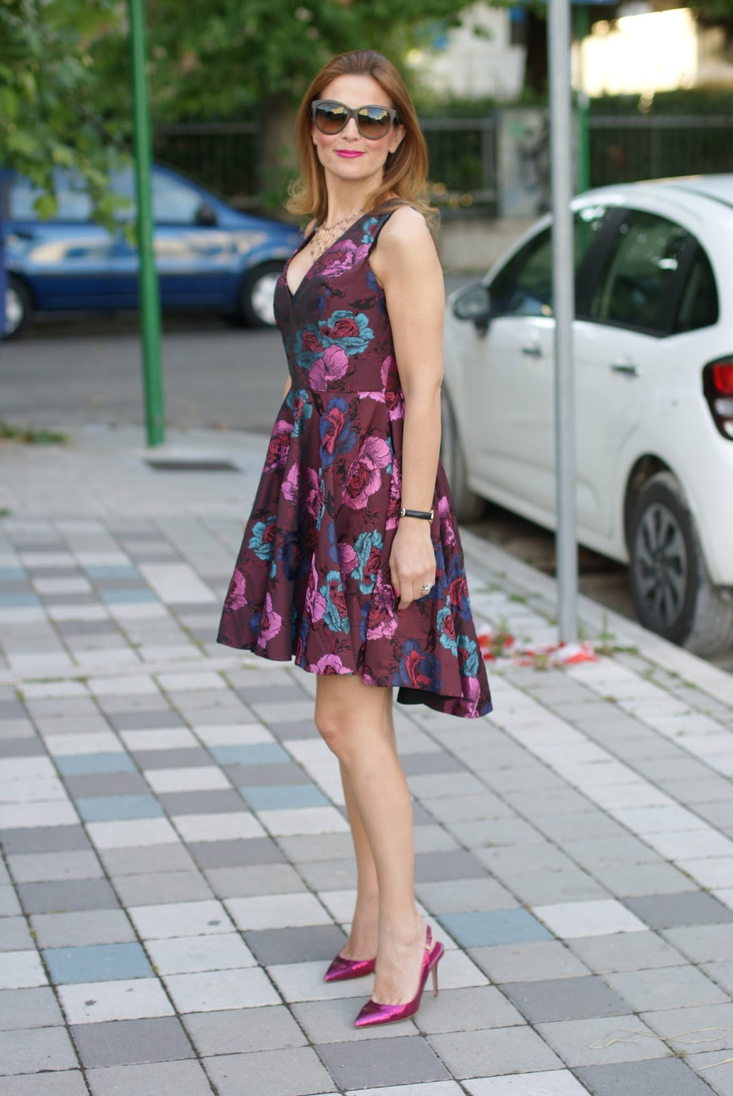 Asos floral jacquard dress, high low hem dress, skater dress and Le Silla heels on Fashion and Cookies fashion blog