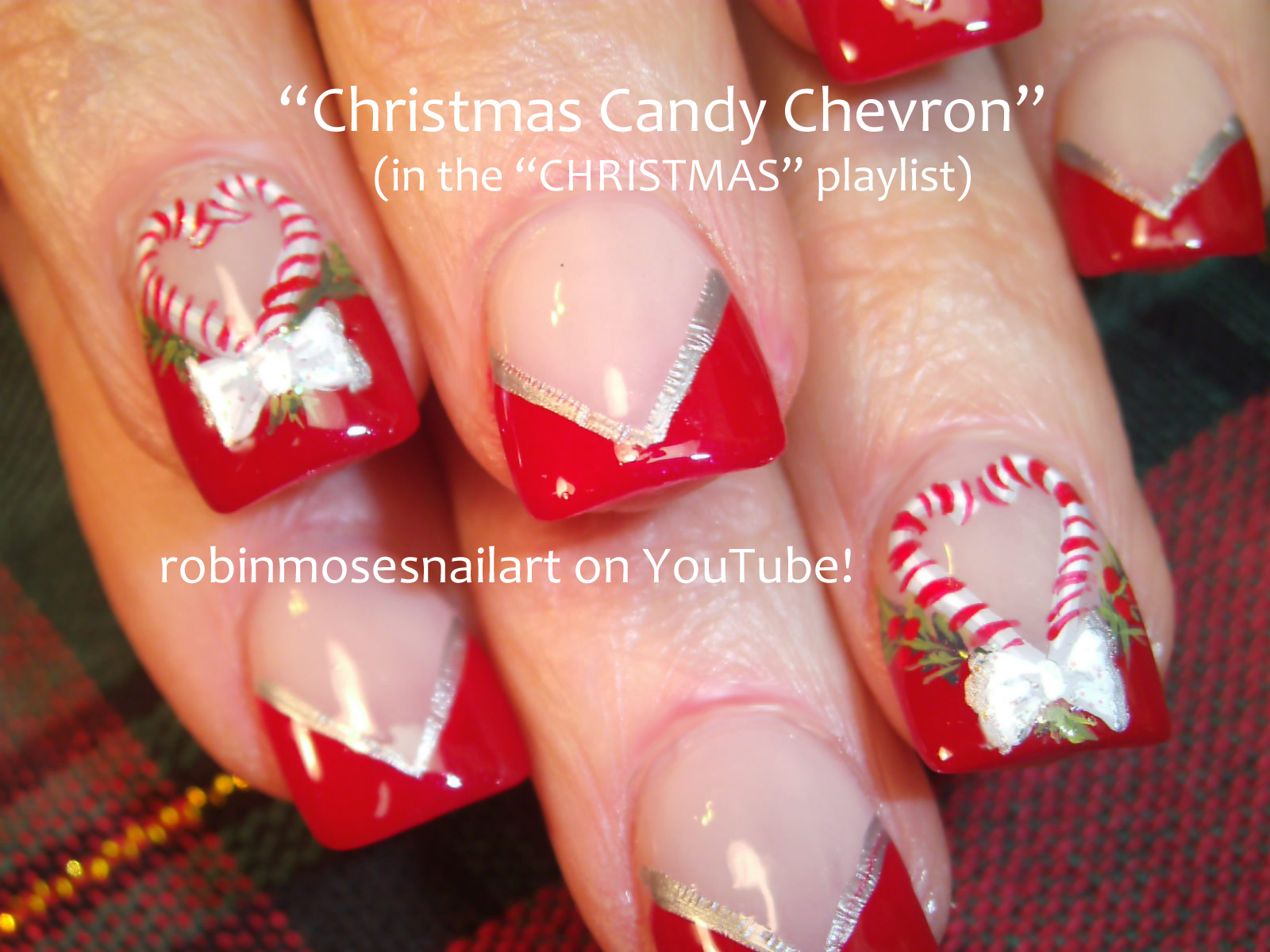 christmas fairies, cutest christmas nails ever, red chevron nail art