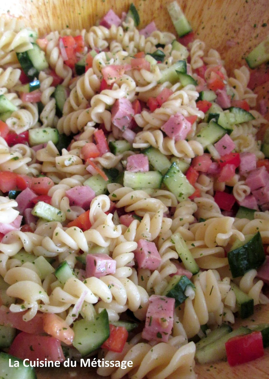 Salade de p tes au jambon et l gumes cuisine et m tissage - Salade de pates jambon ...