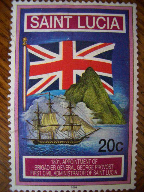 20c: this 2001 stamp shows the British flag and a profile of St. Lucia ... Endemic Species Nicobar Pigeon