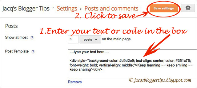 Jacq\'s Blogger Tips: How to create a Post Template in Blogger blogs