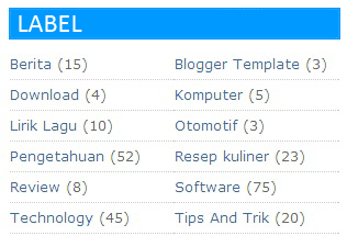 Cara Membuat Label 2 Kolom di Blog