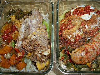 (L) Pork shoulder with rice and sides, (R) eggplant parmigiana and a sausage
