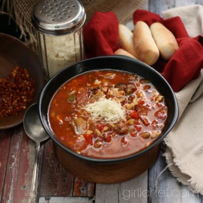 Supreme Pizza Soup | www.girlichef.com