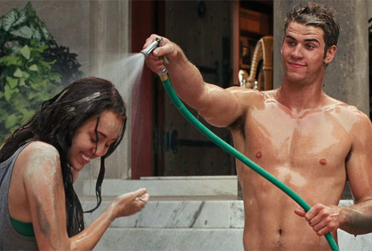 Liam Hemsworth shirtless with Miley Cyrus in The Last Song