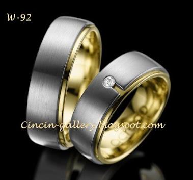 cincin doble logam emas putih dan emas kuning 18 karad masing-masing 5 grm + dia