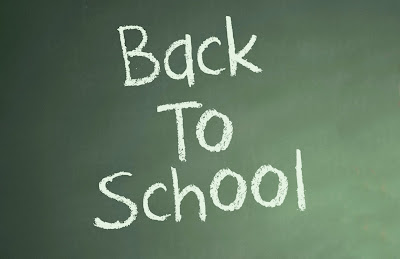 chalk board with text: back to school