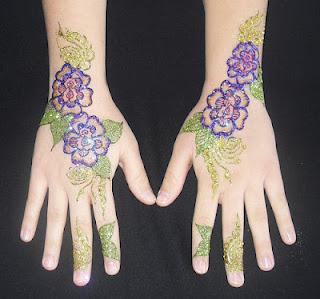 violet colour glittering mehendi