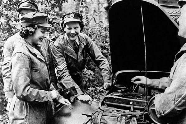 Princess Elizabeth as a mechanic truck driver
