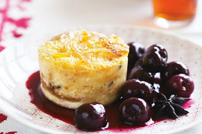 Chilled panettone puddings with poached spiced cherries Recipe