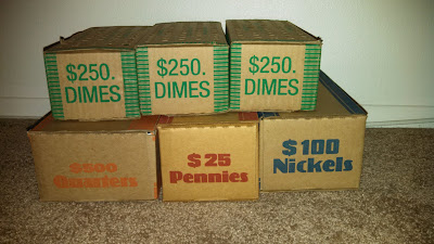 Coin Roll Hunting coin boxes -- searching for silver and collectible coins!