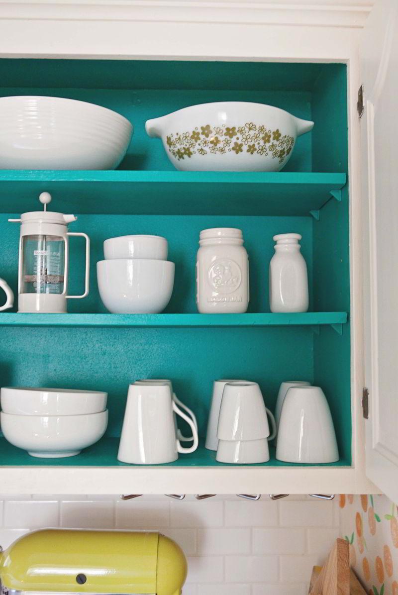 Decoração de cozinha armário azul  turquesa