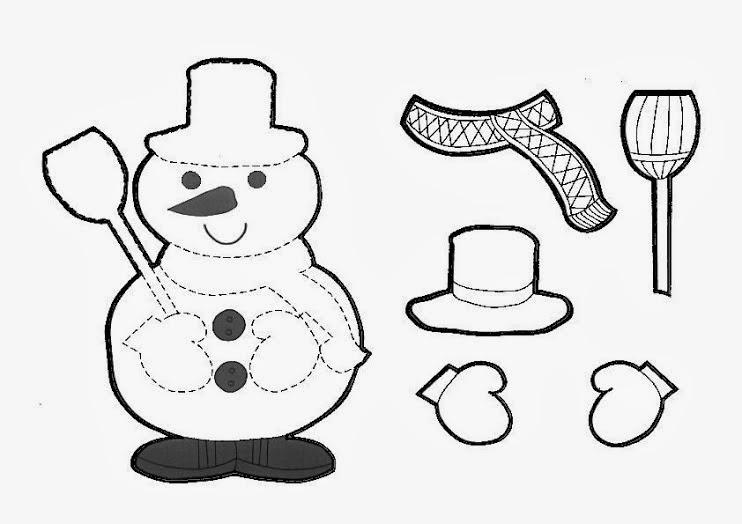 BAÚL DE NAVIDAD: Muñecos de nieve infantiles para colorear y recortar