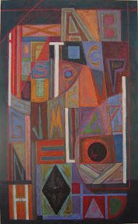 Cuadro abstracto, composición geométrica por la artista ImaPerezAlbert