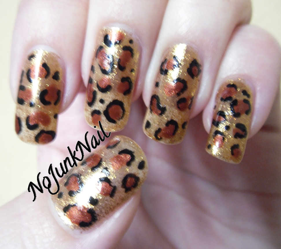 Nail Cake Blue Black Splodges Cow Print: No Junk Nail: Leopard Print Nails