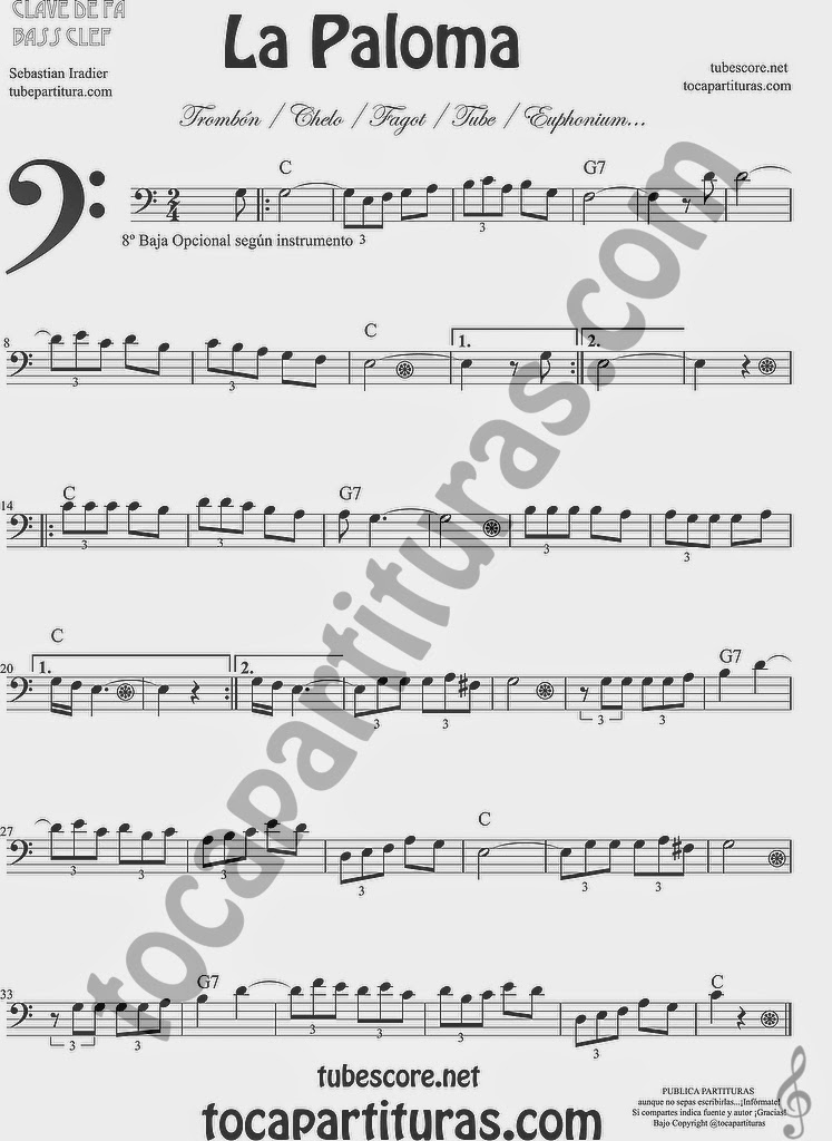 La Paloma Partitura de Violonchelo y Fagot Sheet Music for Cello and Bassoon Music Scores