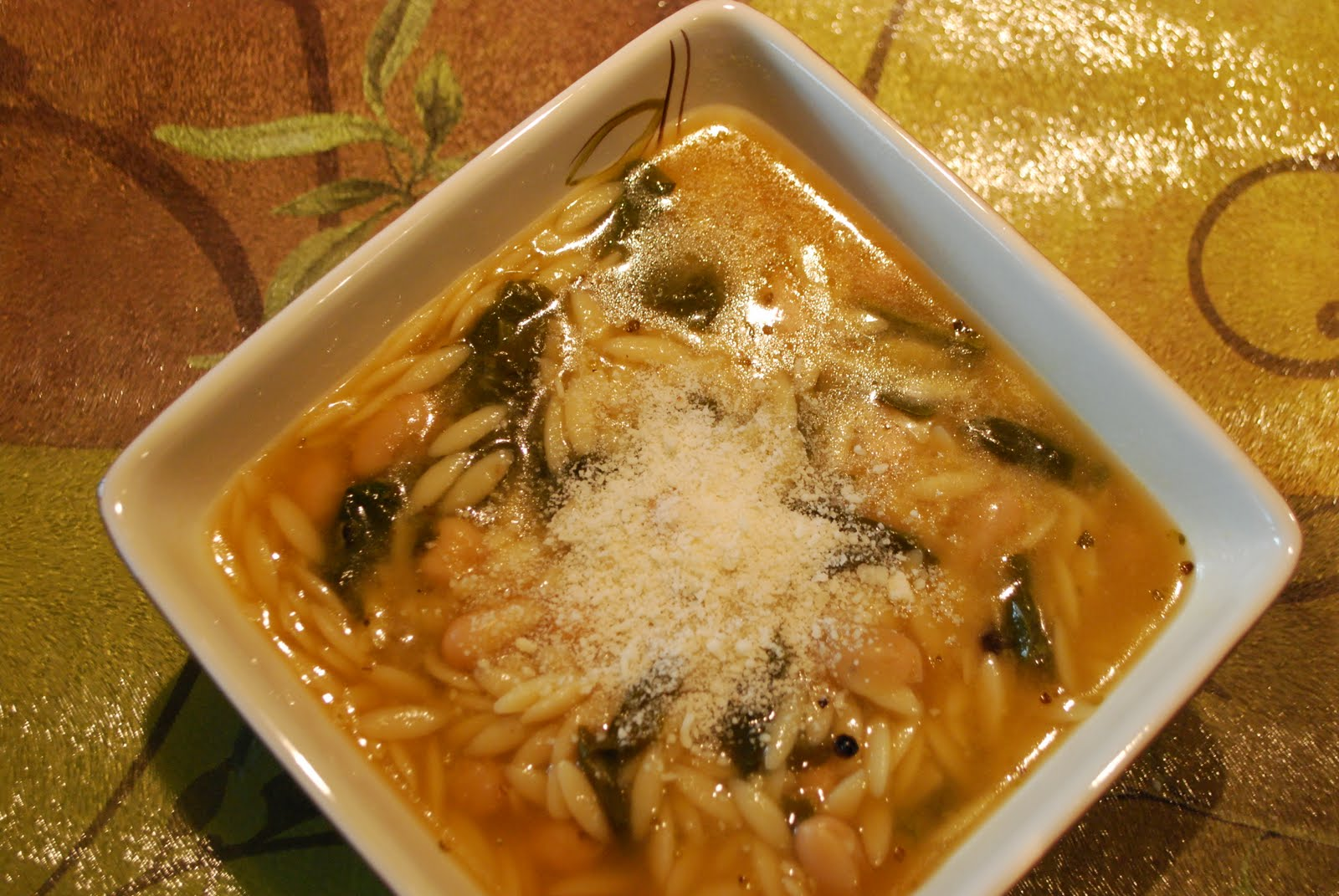 spinach, pasta, amd pea soup recipe