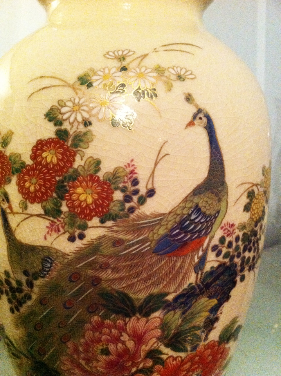 Lady janes treasure trove sold vintage japanese peacock vase 15 in chinese and japanese art the peacock symbolizes beauty and dignity this vase is lovely with or without the enhancement of flowers reviewsmspy