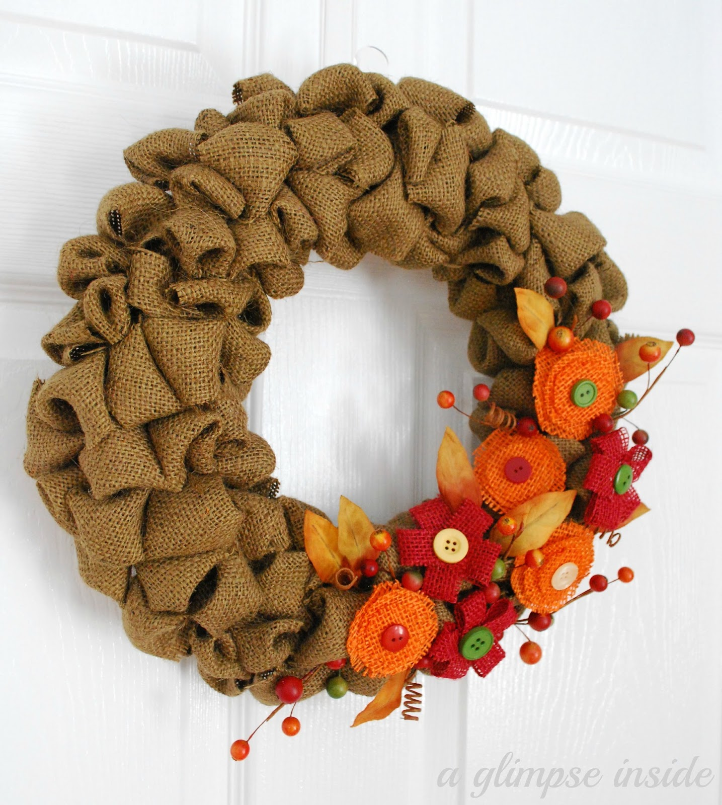 A Glimpse Inside Bubble Burlap Fall Wreath Tutorial