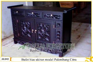 Buffet kayu jati ukiran model Palembang citra