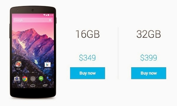 "nexus 5 Available in ""16GB or 32GB"""