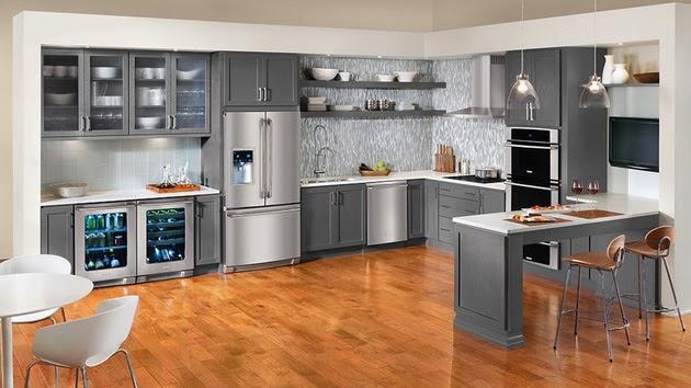 Cuisine grise - Peindre armoire de cuisine en chene ...