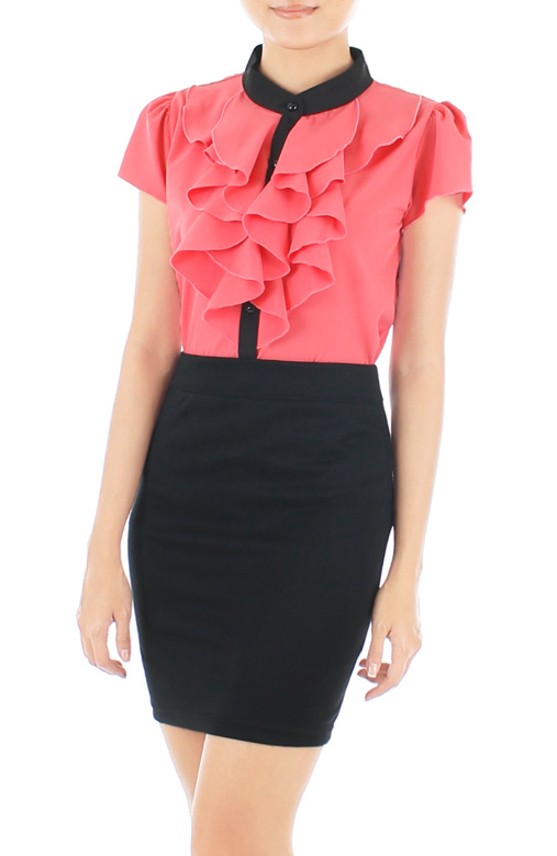 Ruffled Petal Two-tone Blouse – Cherry Pink