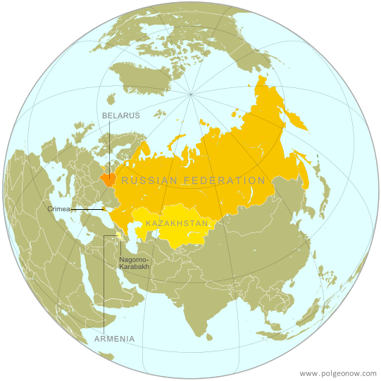 Map of the Eurasian Economic Union (EEU), also known as the Eurasian Union. Includes new member Armenia, as well as prior members Russia, Belarus, and Kazakhstan, and disputed territories Crimea and Nagorno-Karabakh.