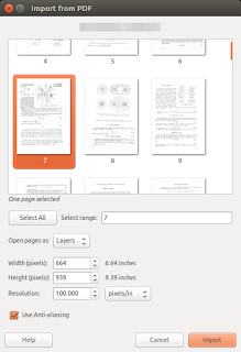 GIMP import PDF - screenshot