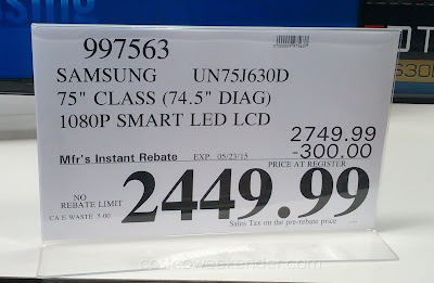 Deal for the Samsung UN75J630D 75 inch LED LCD HDTV at Costco