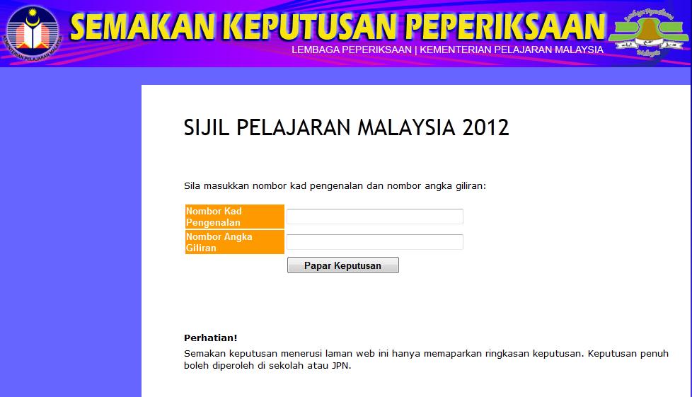 Semakan Keputusan Spm 2012 Secara Online Pesan Seorang Guru Ain Sweet Kitchen Com