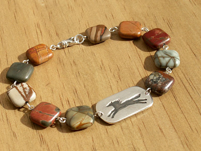 wild pony running horse bracelet handmade silver link with red creek jasper beads on Etsy by Jennifer Kistler