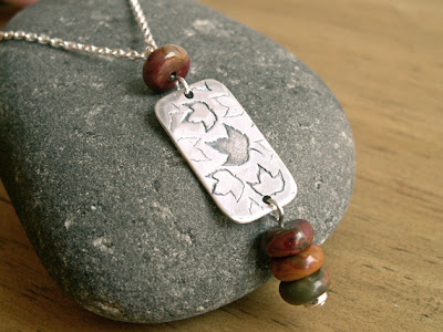 scattered leaves handmade recycled fine silver pendant with red creek jasper beads on Etsy by Jennifer Kistler