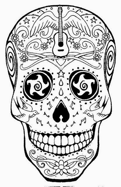 Sly image throughout printable sugar skull