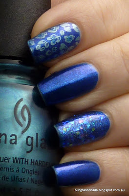 China Glaze Blue Years Eve with Stamping and Enchanted Polish Blue Freeze accent