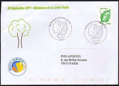 l 39 enveloppe 1er jour plus qu 39 un timbre timbres lettre verte de la poste fran aise. Black Bedroom Furniture Sets. Home Design Ideas