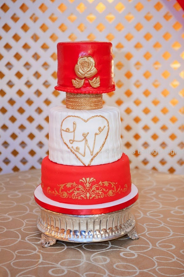 Manjus eating delights red gold and white wedding cake they chose love marriage as the theme for the wedding with decorations in colors of red white and gold so the colors for the cake was set junglespirit Image collections