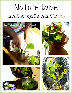 Nature table and paint exploration by Welcome to Mommyhood #painting, #paintathon, #preschoolactivities, #naturetable